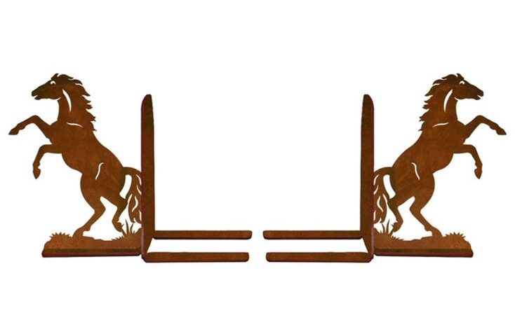 """6"""" Rearing Horses Metal Bookends"""
