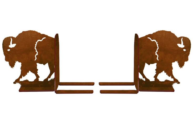 """6"""" Walking Buffalo Metal Bookends"""