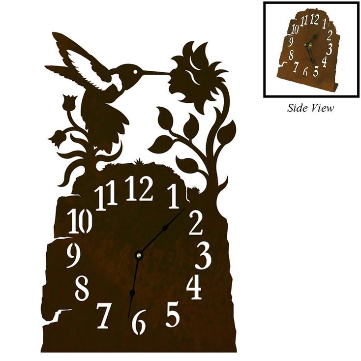 Hummingbird with Flower Metal Table Clock