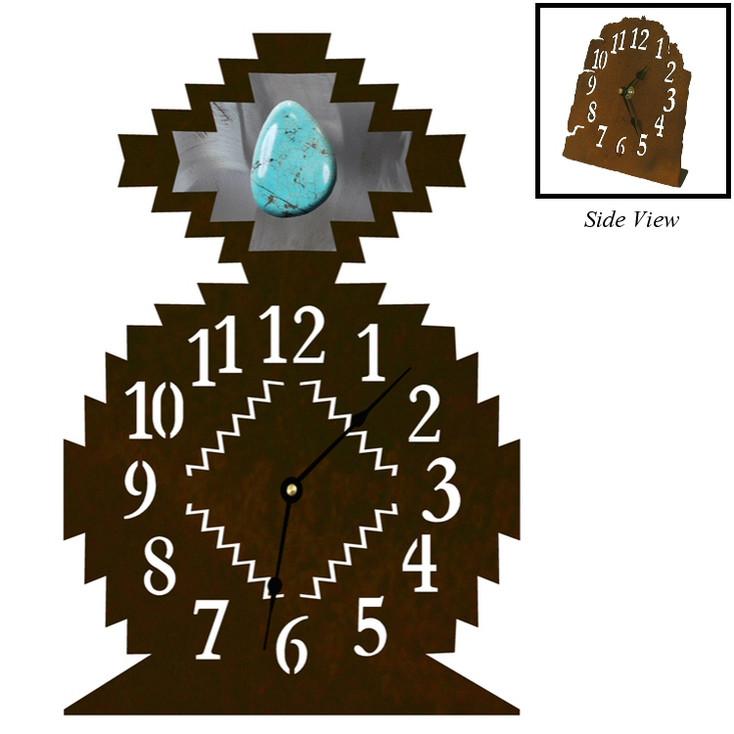 Desert Diamond with Turquoise Stone Metal Table Clock