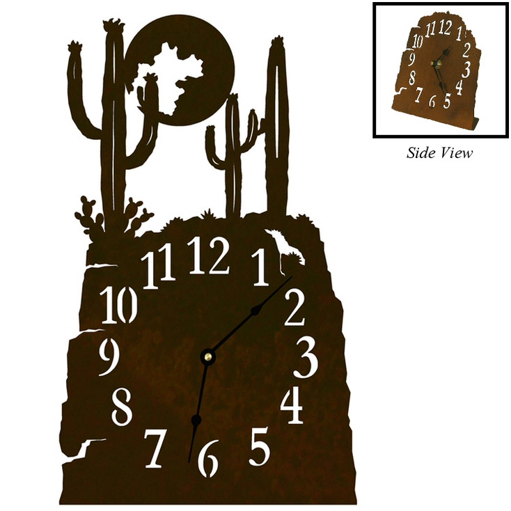 Cactus Scene Metal Table Clock