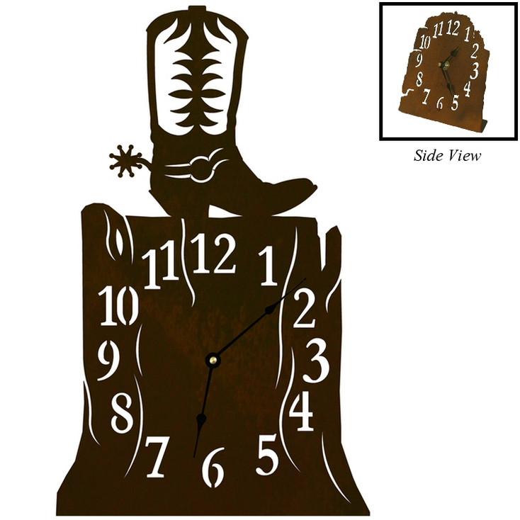 Cowboy Boot Metal Table Clock