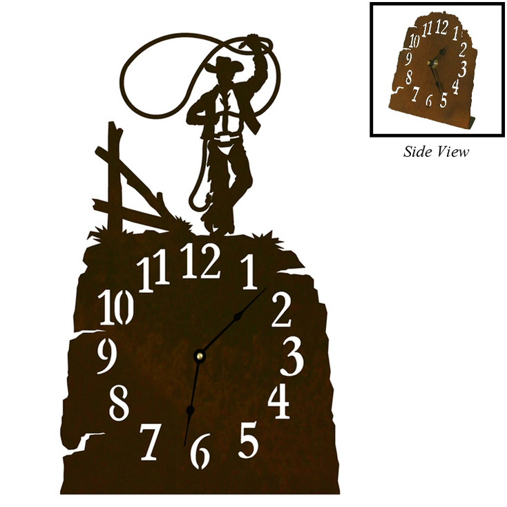 Cowboy Roping Metal Table Clock