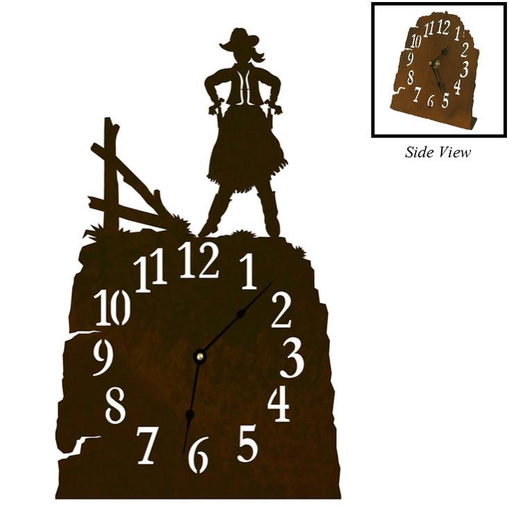 Cowgirl Drawing Pistol Metal Table Clock