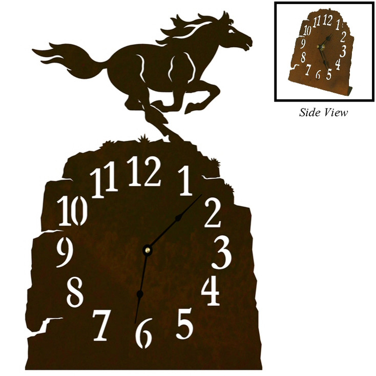 Running Horse Metal Table Clock