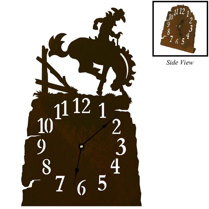 Bucking Bronco Rider Metal Table Clock
