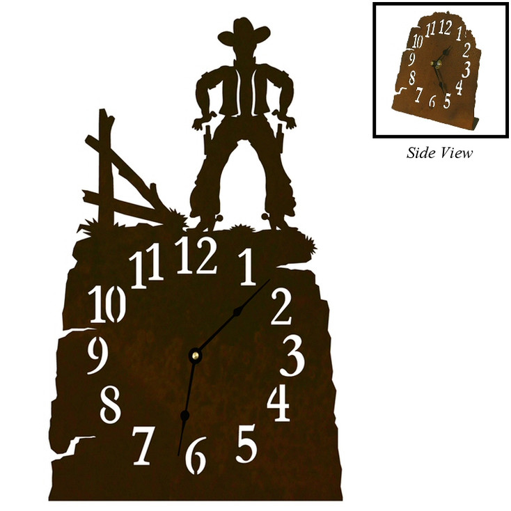 Cowboy Drawing Pistol Metal Table Clock