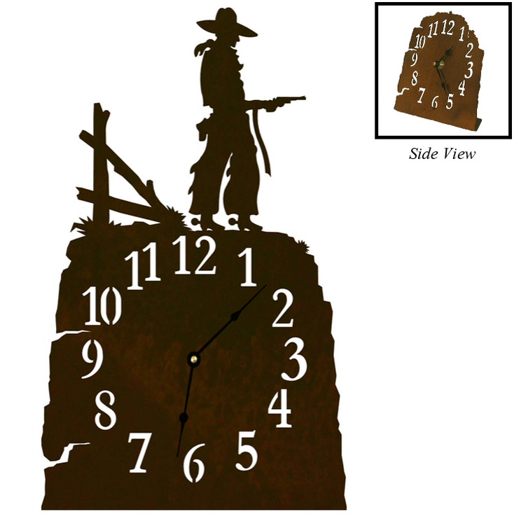 Cowboy with Pistol Metal Table Clock