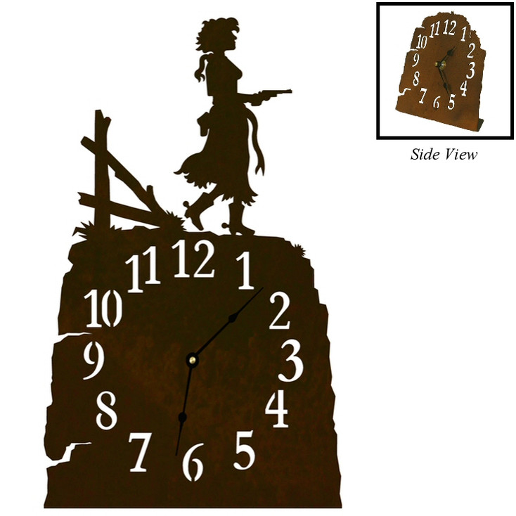 Cowgirl with Pistol Metal Table Clock