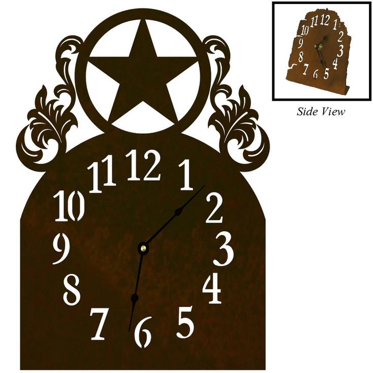 Texas Western Star Metal Table Clock