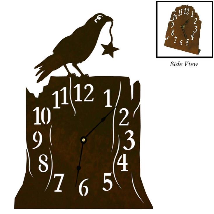 Crow Bird Metal Table Clock