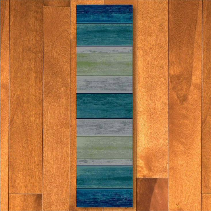 2' x 8' Bungalow Stripe Aqua Rectangle Runner Rug