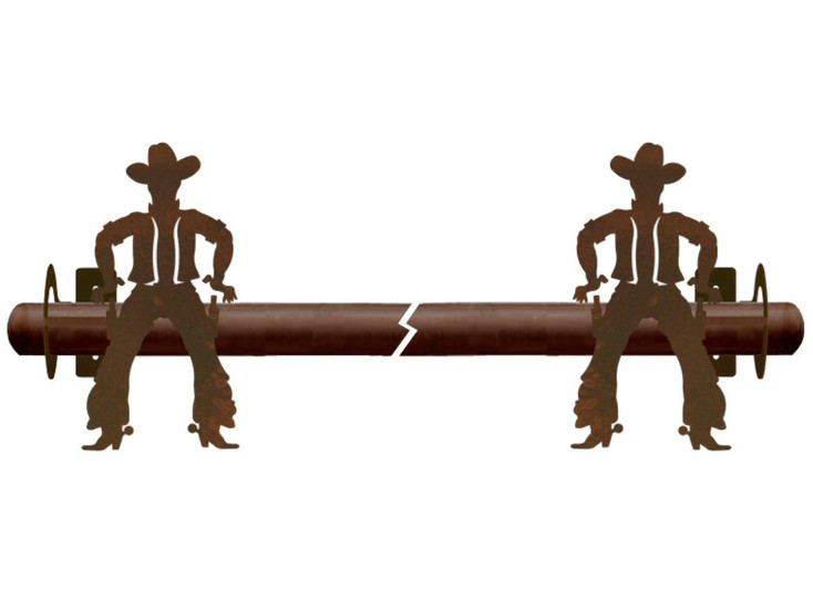 Cowboy Drawing Pistol Metal Curtain Rod Holders