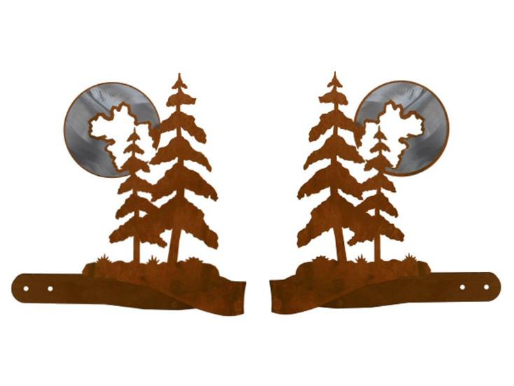Burnished Pine Trees Metal Curtain Tie Backs