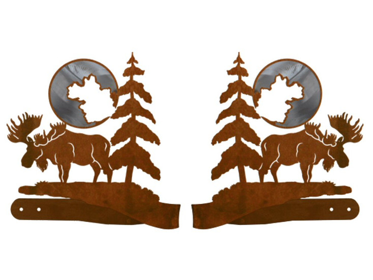 Burnished Moose and Pine Trees Metal Curtain Tie Backs