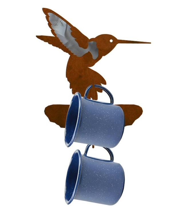 Burnished Hummingbird Metal Mug Holder Wall Rack