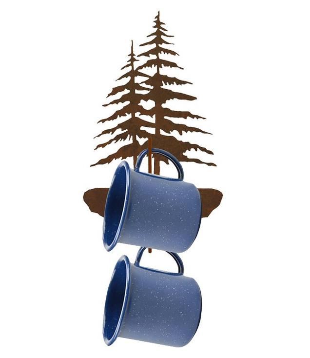 Double Pine Trees Metal Mug Holder Wall Rack