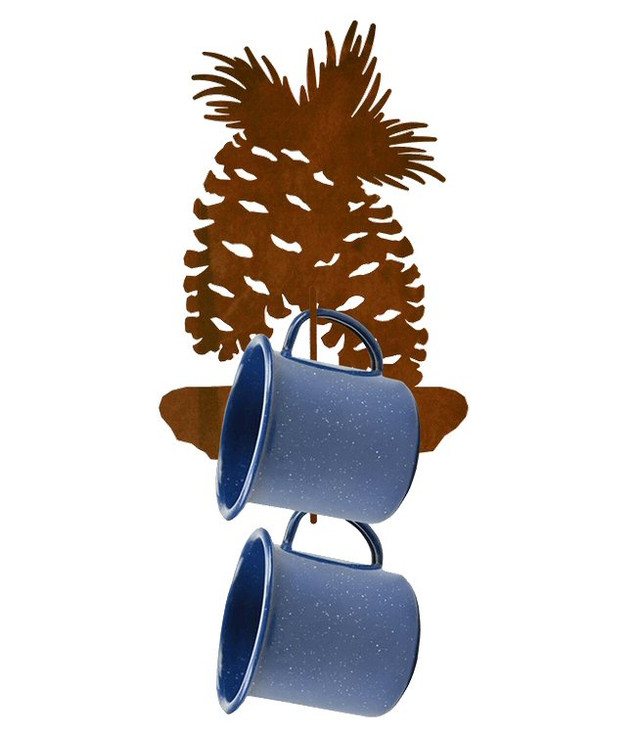 Pine Cone Metal Mug Holder Wall Rack