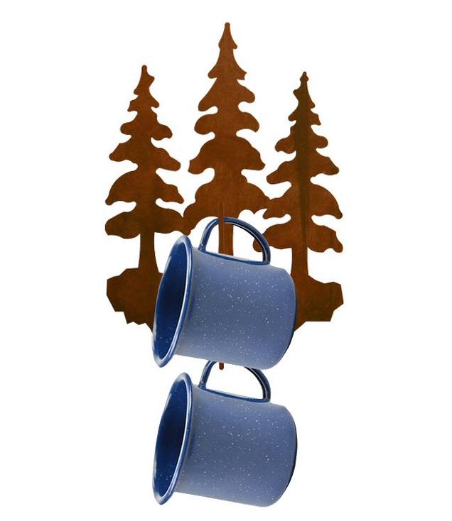 Triple Pine Trees Metal Mug Holder Wall Rack