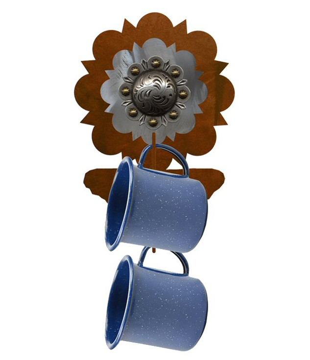 Silver Round Concho Metal Mug Holder Wall Rack