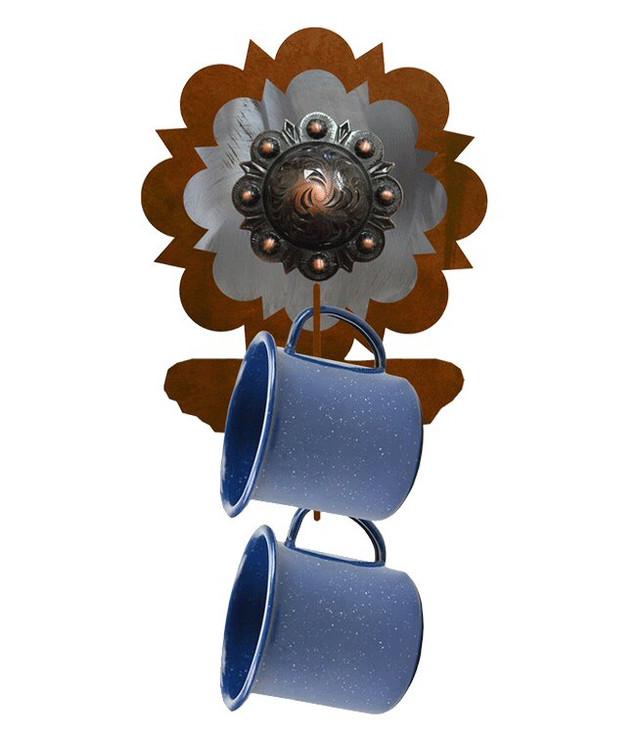 Copper Round Concho Metal Mug Holder Wall Rack
