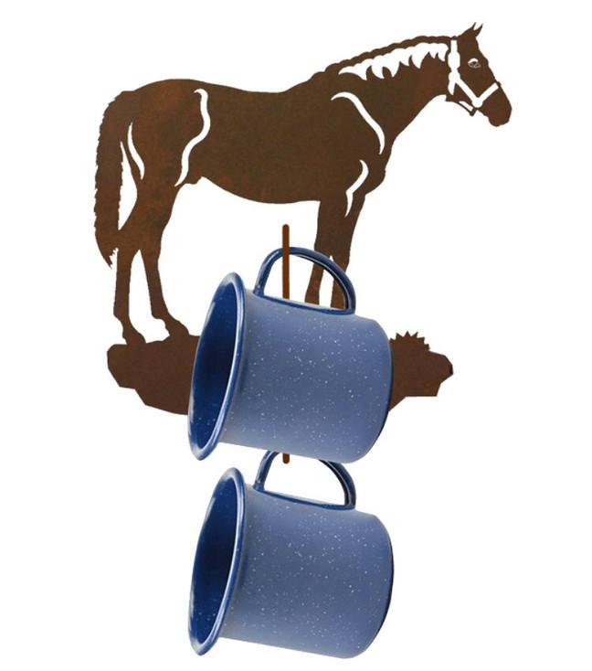 Bay Horse Metal Mug Holder Wall Rack