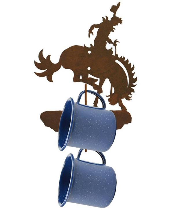 Bucking Bronco Rider Metal Mug Holder Wall Rack