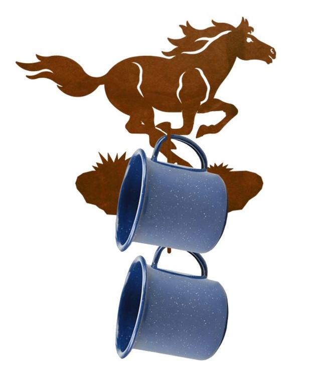 Running Wild Horse Metal Mug Holder Wall Rack