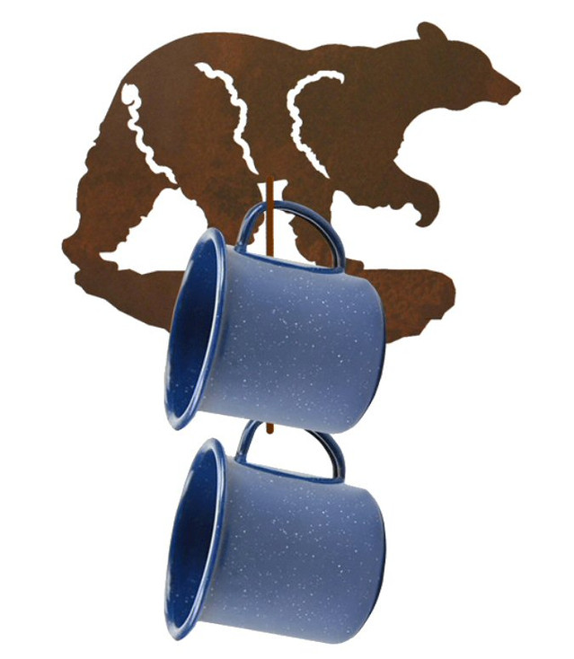 Black Bear Metal Mug Holder Wall Rack