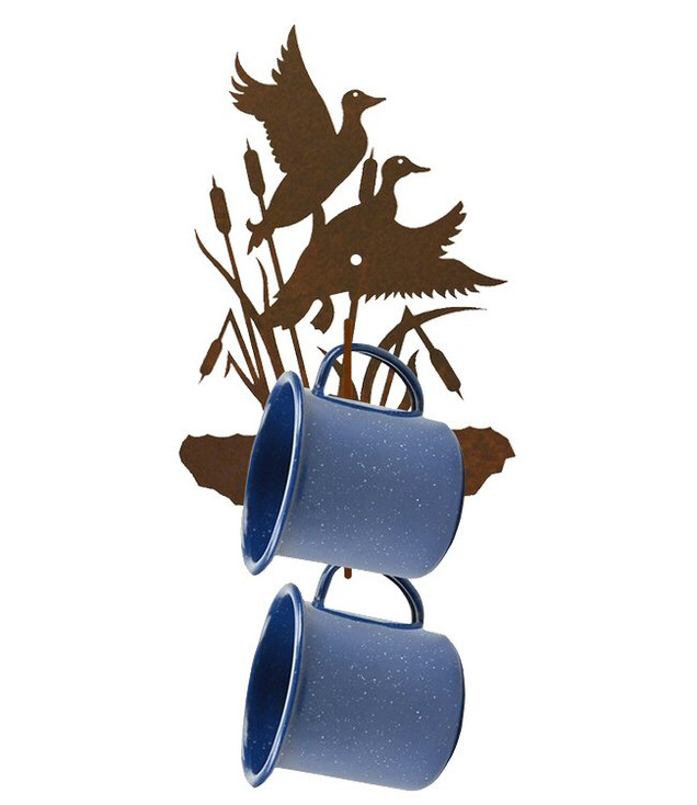 Flying Ducks Metal Mug Holder Wall Rack