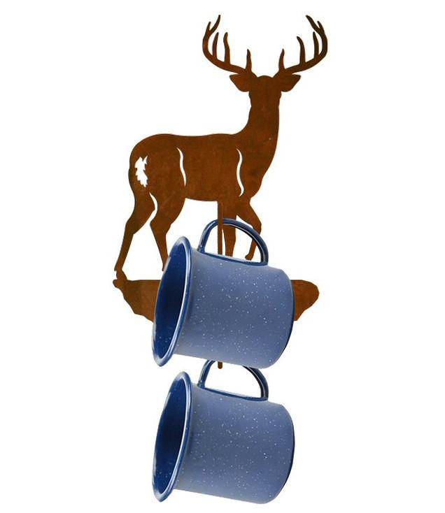 Whitetail Deer Metal Mug Holder Wall Rack
