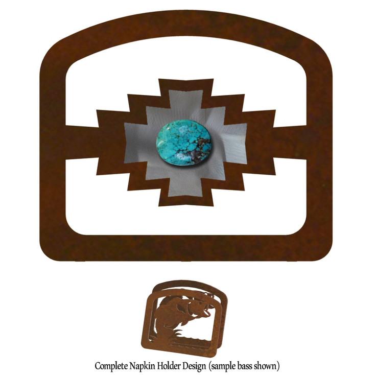 Desert Diamond with Turquoise Stone Metal Napkin Holder