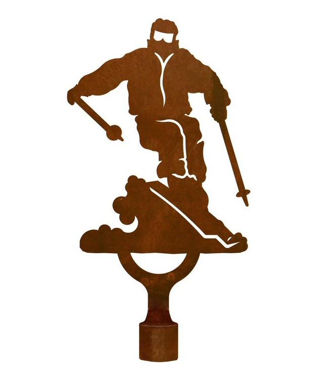 Large Skier Metal Lamp Finial