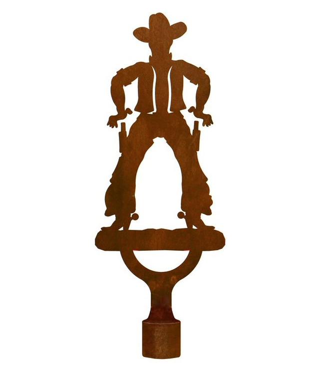Large Cowboy Metal Lamp Finial