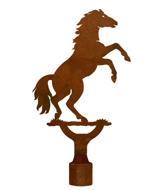 Large Rearing Horse Metal Lamp Finial