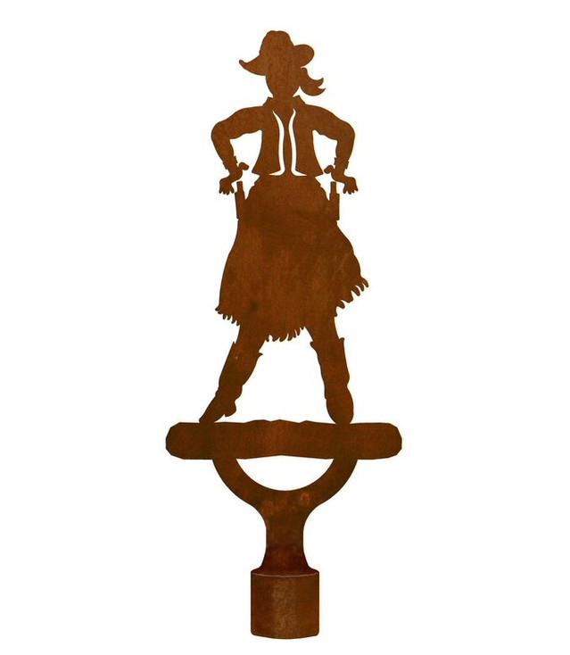 Large Cowgirl Metal Lamp Finial