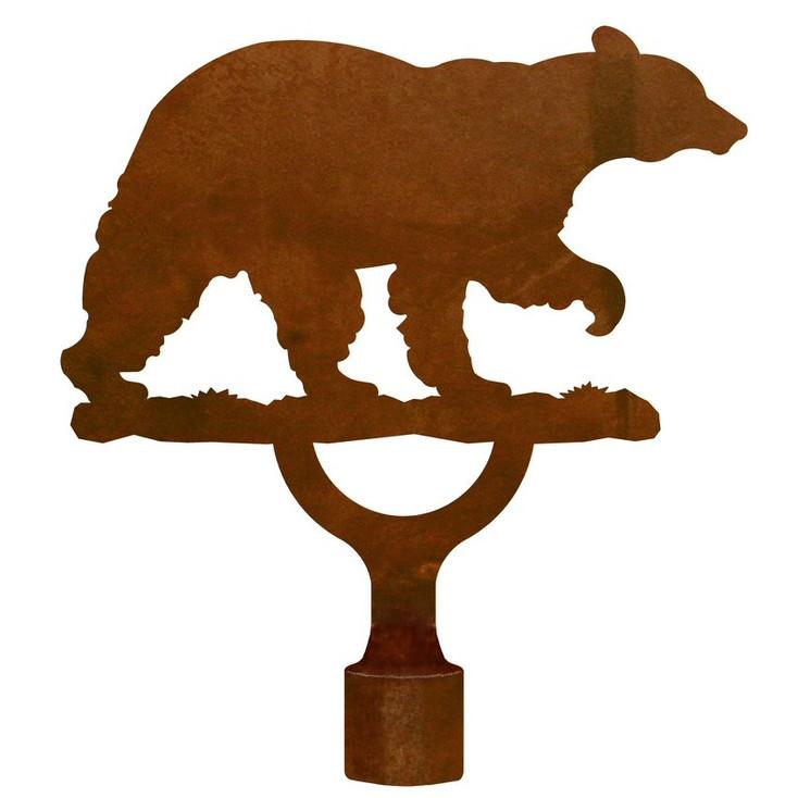 Large Black Bear Metal Lamp Finial