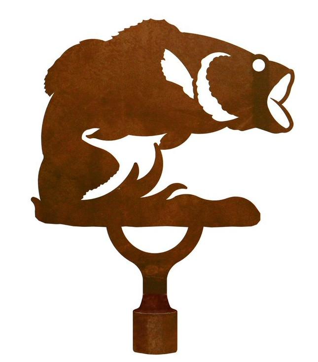 Large Bass Fish Metal Lamp Finial