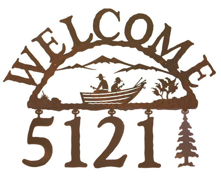 Row Boat Metal Address Welcome Sign