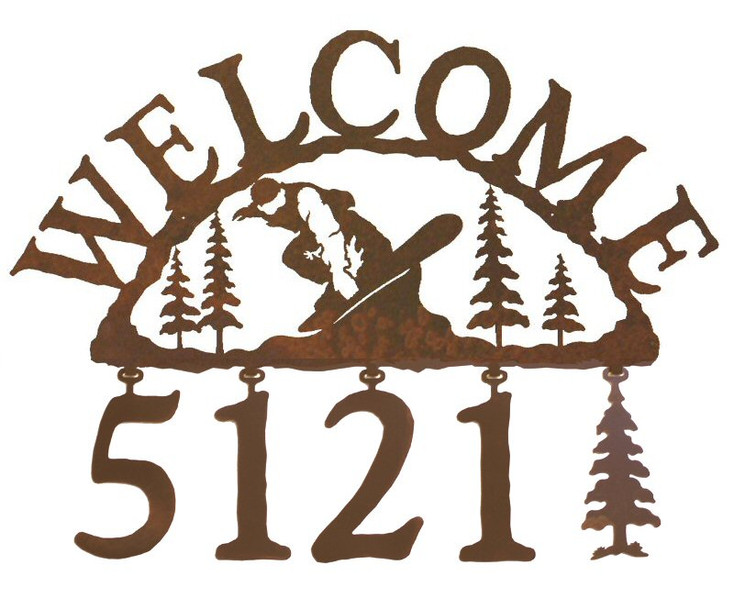 Snowboarder Metal Address Welcome Sign