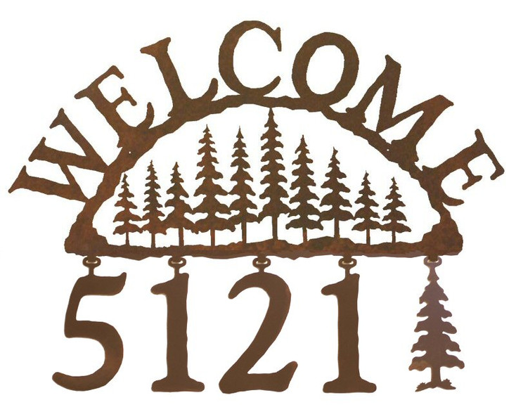Pine Tree Forest Metal Address Welcome Sign