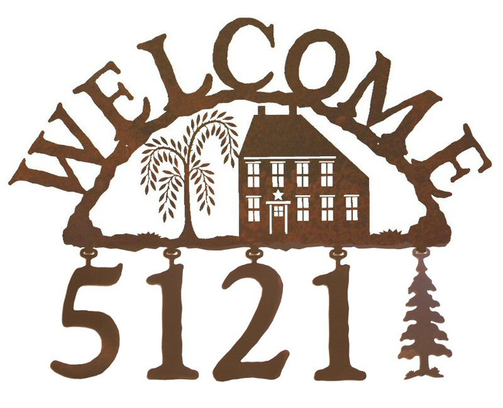 Salt Box House Metal Address Welcome Sign