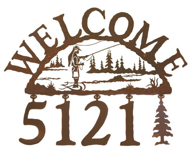 Woman Fly Fishing Metal Address Welcome Sign