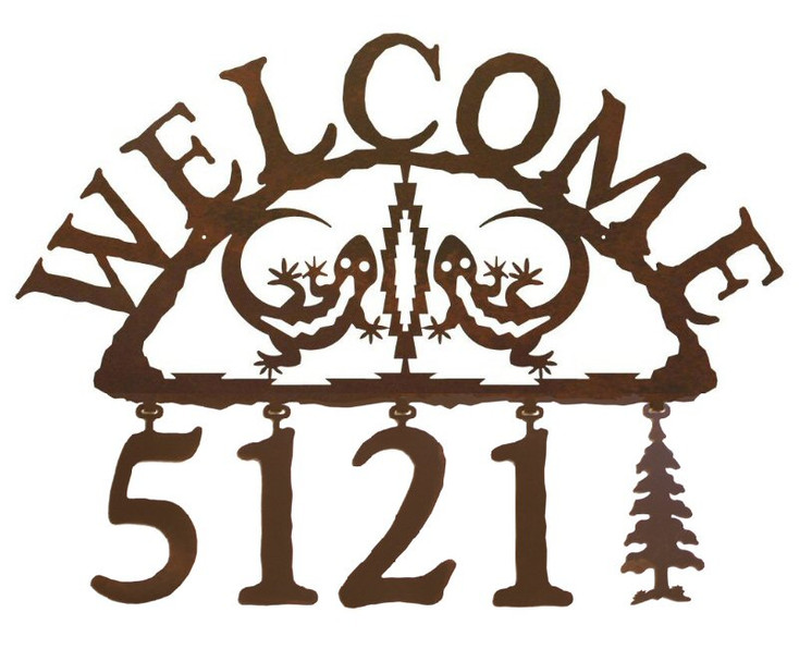 Gecko Metal Address Welcome Sign