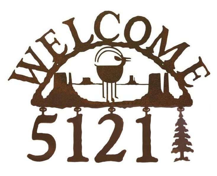 Ram Goat Metal Address Welcome Sign