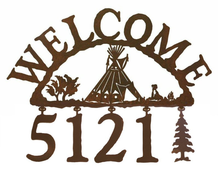 Tepee Metal Address Welcome Sign