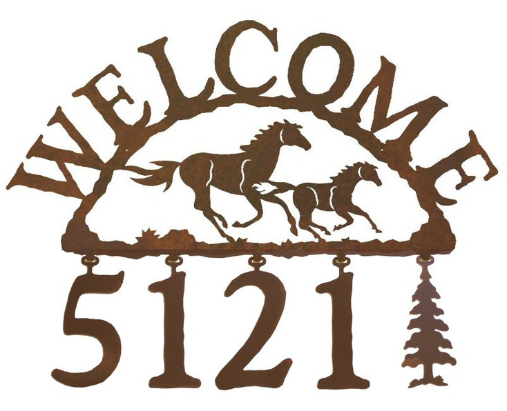 Running Wild Horses Metal Address Welcome Sign