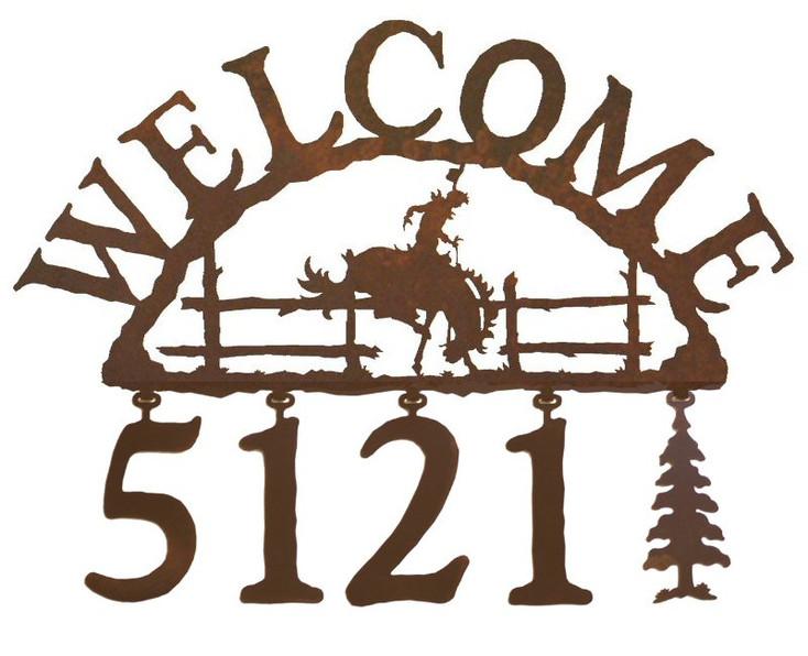 Bucking Bronco Rider Metal Address Welcome Sign