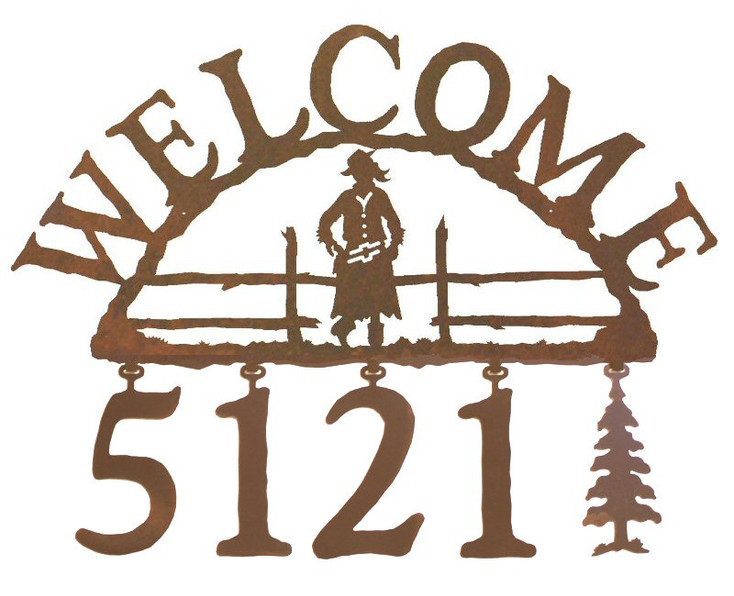 Cowgirl Metal Address Welcome Sign
