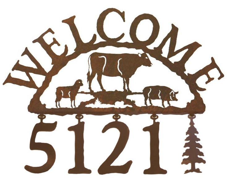 Farm Animals Metal Address Welcome Sign
